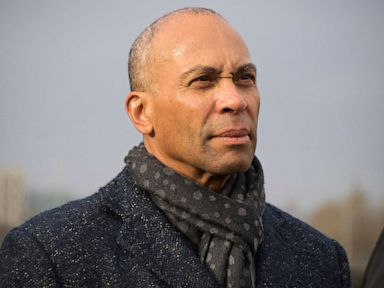 PHOTO: Former Massachusetts governor and Democratic candidate for president Deval Patrick listens to Iowa state Senator Rob Hogg speak in Cedar Rapids, Iowa, Nov. 18, 2019.