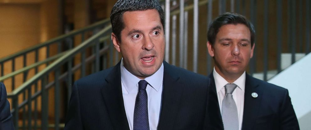 PHOTO: House Intelligence Committee Chairman Devin Nunes (R-CA) speaks while flanked by and Rep. Don DeSantis (R-FL), in Washington, Oct. 24, 2017.