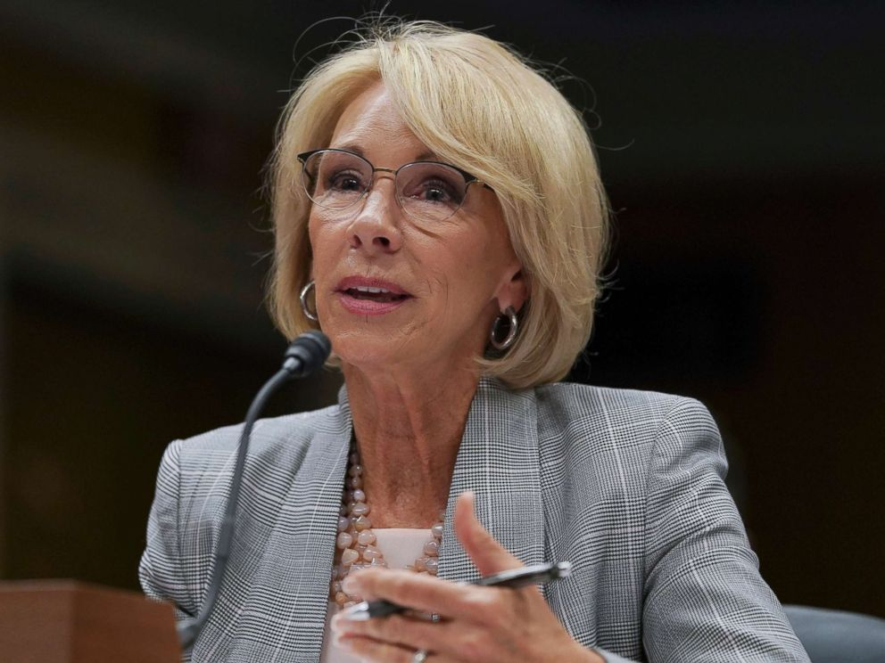 PHOTO: Education Secretary Betsy DeVos testifies during a Senate Subcommittee on Labor, Health and Human Services, Education, and Related Agencies Appropriations hearing in Washington, D.C, June 5, 2018.