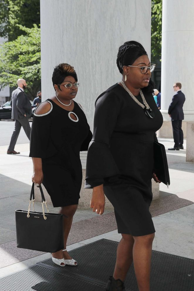 "Lynette Hardaway and Rochelle Richardson, also known as Diamond and Silk arrive to testify before the House Judiciary Committee at the Rayburn House Office Building on Capitol Hill, April 26, 2018, in Washington. Avid supporters of President Donald Trump, Diamond and Silk had their political videos removed by Facebook after they were determined to be ""unsafe."""