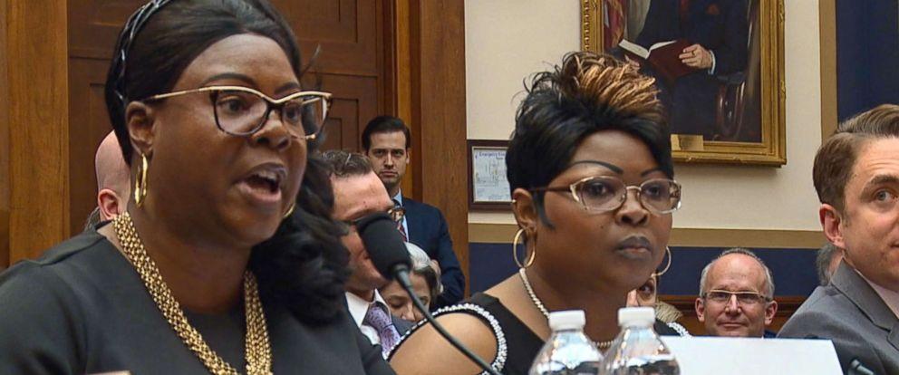 """PHOTO: Lynnette Hardaway and Rochelle Richardson, who produce videos under the name """"Diamond & Silk,"""" testify in front of a House Judiciary Committee hearing on social networks and accusations of censoring political content in Washington, April 26, 2018."""