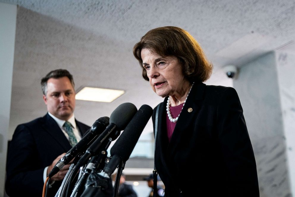 PHOTO: Senator Dianne Feinstein speaks to reporters as Joseph Maguire, acting director of national intelligence, testifies during a House Permanent Select Committee on Intelligence, on Capitol Hill in Washington, Sept. 26, 2019.