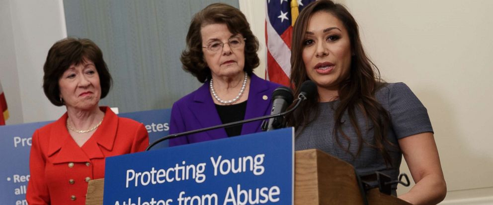 PHOTO: Former Team USA gymnast Jeanette Antolin, right, accompanied by Sen. Susan Collins, left, and Sen. Dianne Feinstein, speaks during a news conference in Washington, March 28, 2017.