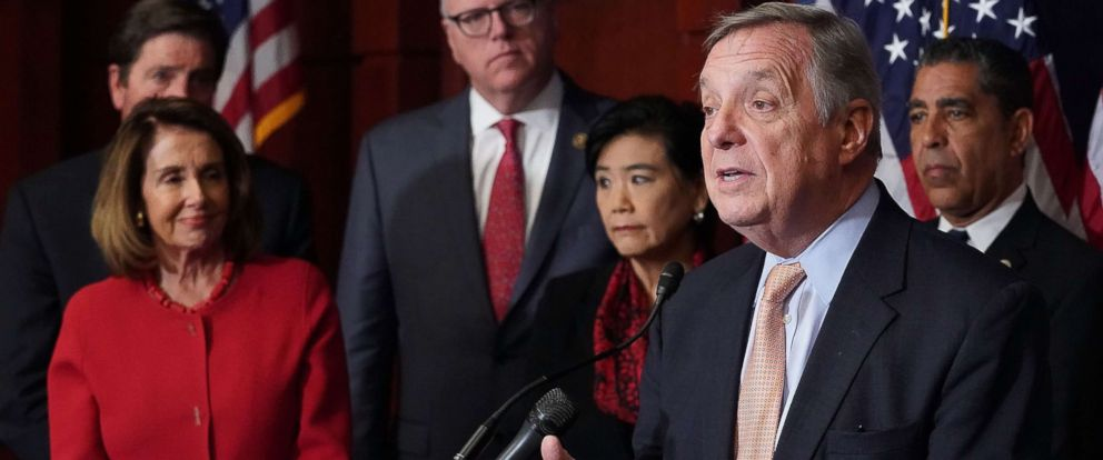 PHOTO: Senate Minority Whip Richard Durbin is joined by House Minority Leader Nancy Pelosi, Rep. Joe Crowley, Rep. Judy Chu and Rep. Adriano Espaillat for a news conference to call for passage of the Dream Act Oct. 25, 2017 in Washington, DC.