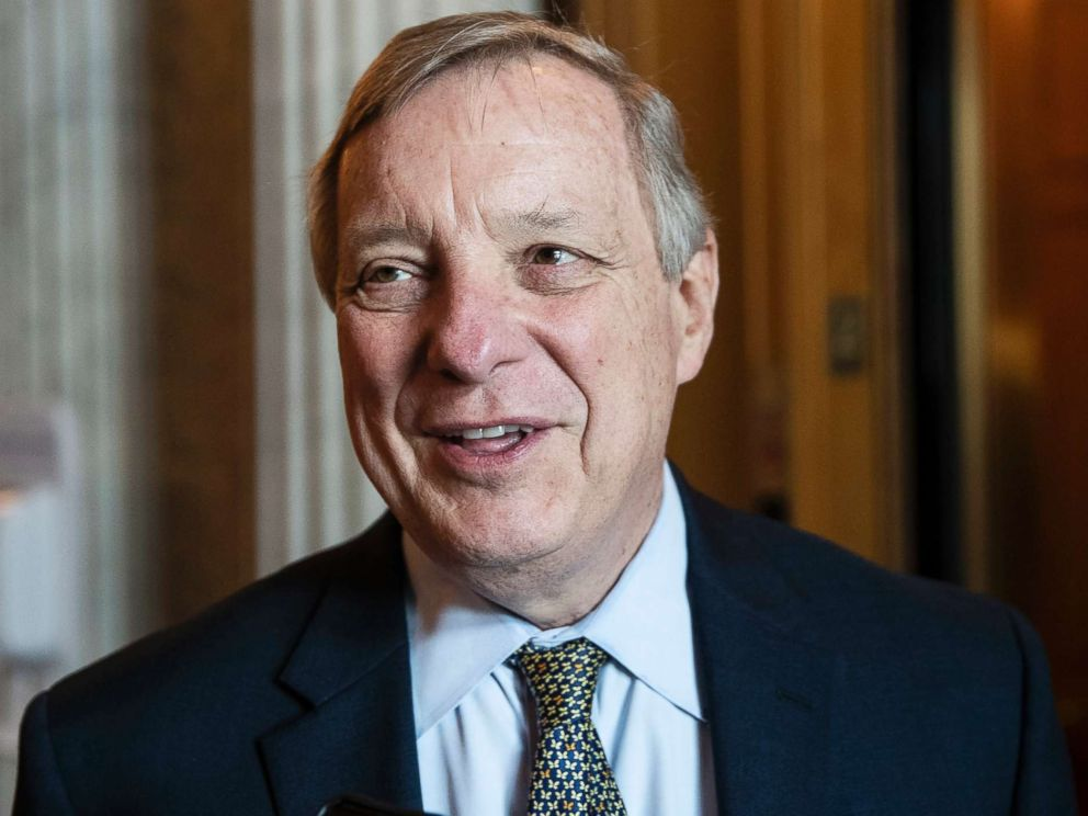 PHOTO: Sen. Dick Durbin speaks with a reporter on Capitol Hill, in Washington, Oct. 10, 2018.