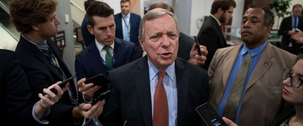 PHOTO: Sen. Dick Durbin speaks with reporters at the Capitol in Washington, Aug. 28, 2018.
