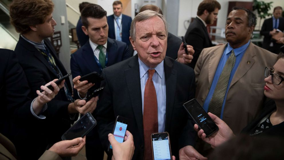 Sen. Dick Durbin speaks with reporters at the Capitol in Washington, Aug. 28, 2018.