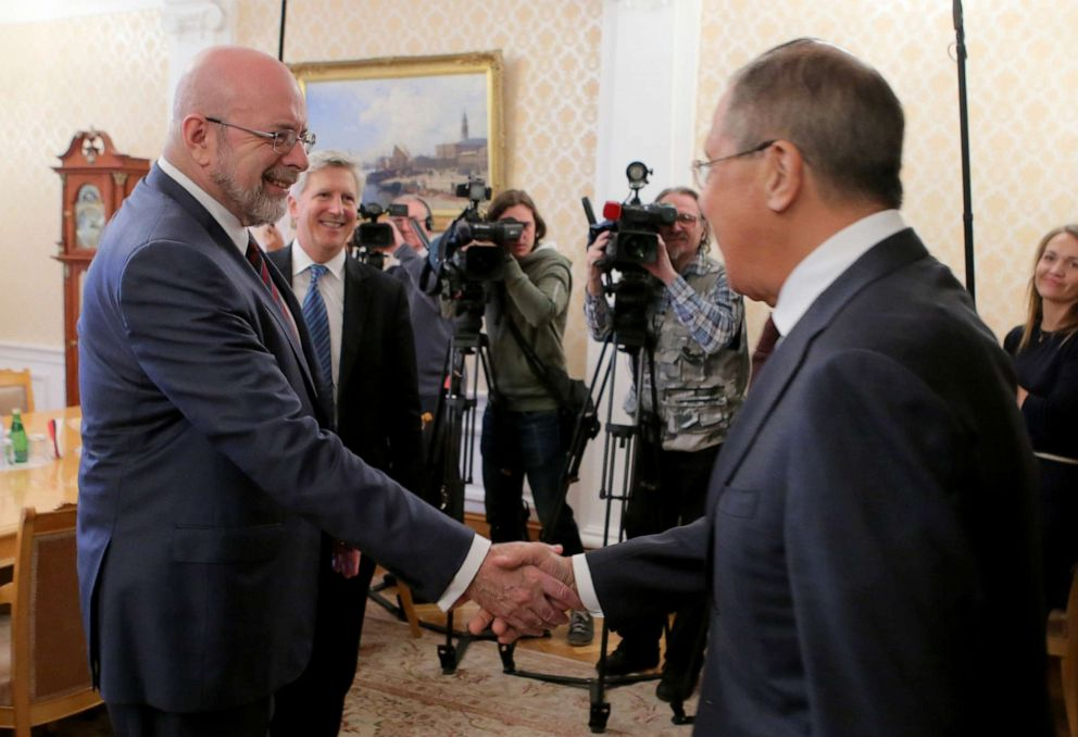 PHOTO: Russian Foreign Minster Sergei Lavrov, right, and political scientist Dimitri Simes, President of The Center for the National Interest meet in Moscow.
