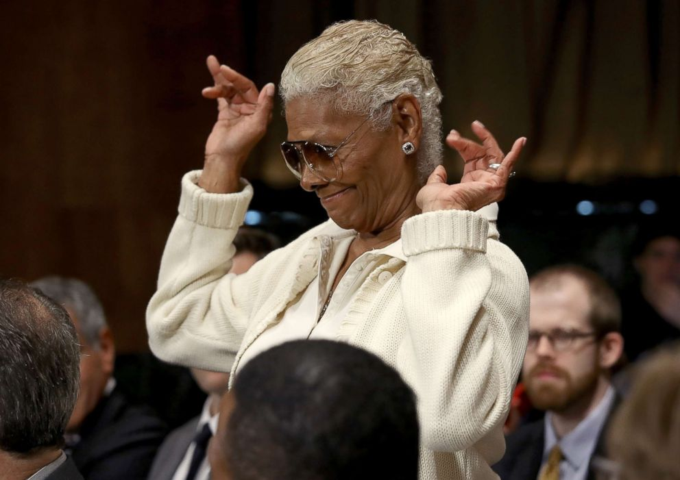 PHOTO: Singer and songwriter Dionne Warwick waves to senators during a hearing held by the Senate Judiciary Committee, May 15, 2018, in Washington, DC.