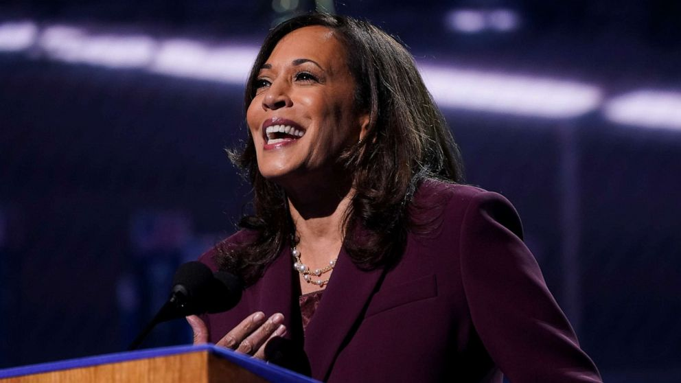 PHOTO: Senator Kamala Harris accepts the Democratic vice presidential nomination during her speech delivered for the largely virtual 2020 Democratic National Convention from the Chase Center in Wilmington, Del., Aug. 19, 2020.