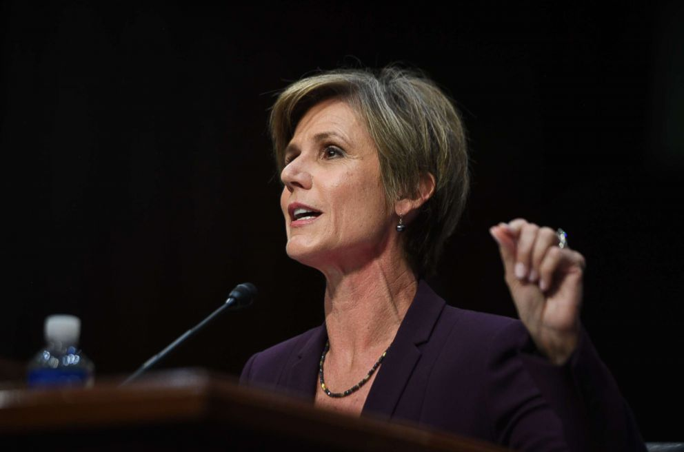 PHOTO: Former acting Attorney General Sally Yates testifies on May 8, 2017, before the US Senate Judiciary Committee on Capitol Hill in Washington, DC.