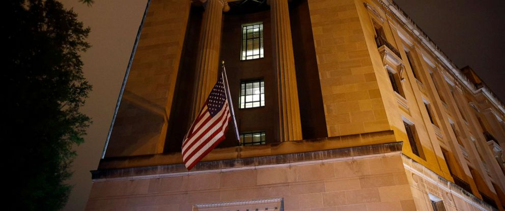 PHOTO:An American flag flies outside the Department of Justice, April 18, 2019, in Washington, D.C.