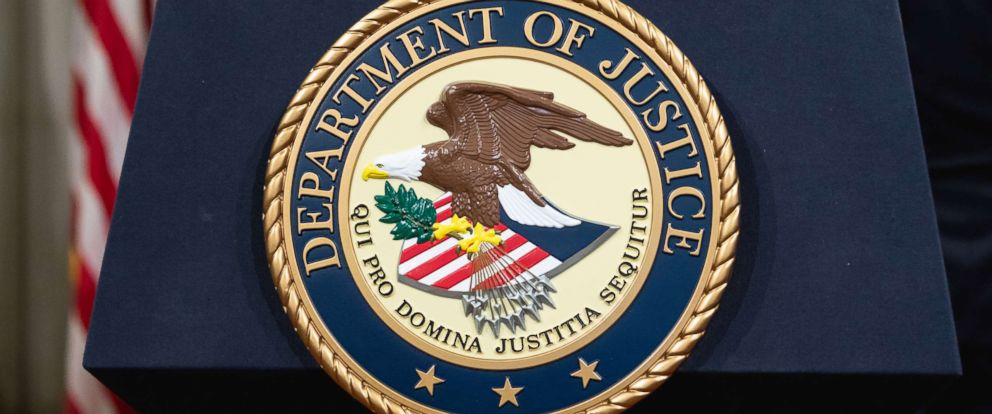 PHOTO: The Department of Justice seal is pictured in Washington, D.C., April 12, 2018.