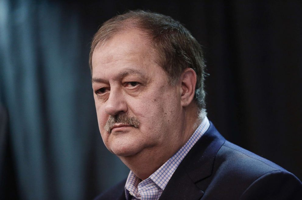 PHOTO: Former Massey Energy CEO Don Blankenship, Republican U.S. Senate candidate from West Virginia, pauses while speaking during a town hall campaign event in Huntington, W.V., Feb. 1, 2018.