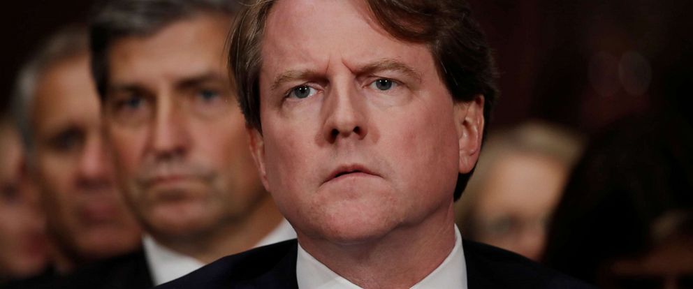 PHOTO: White House counsel Don Mcgahn listens to Judge Brett Kavanaugh testify before the Senate Judiciary Committee during his Supreme Court confirmation hearing in the Dirksen Senate Office Building on Capitol Hill, Sept. 27, 2018, in Washington.