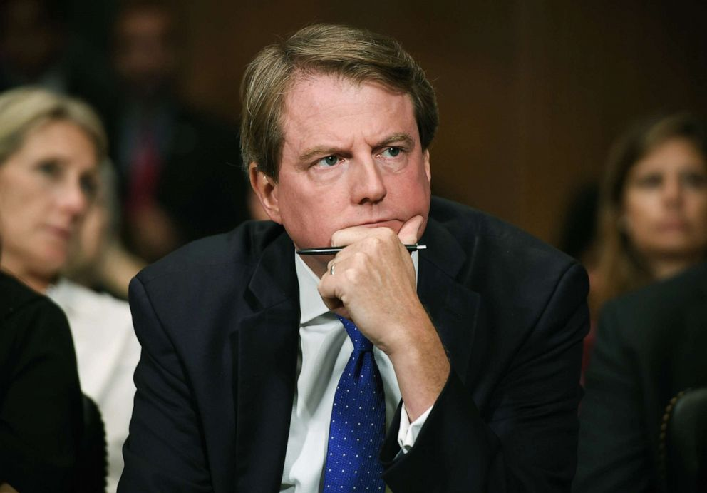 Donald McGahn, White House Counsel and Assistant to President Donald Trump, listens during a hearing on Capitol Hill, Sept. 27, 2018 in Washington, D.C.