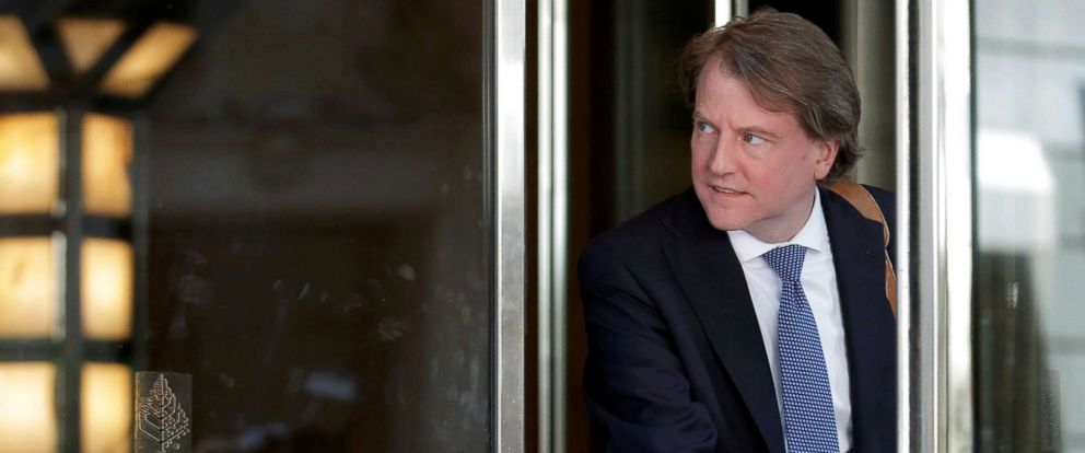PHOTO: Don McGahn, lawyer and Trump adviser, exits following a meeting of U.S. Republican presidential candidate Donald Trumps national finance team at the Four Seasons Hotel in New York City, in this June 9, 2016 file photo.