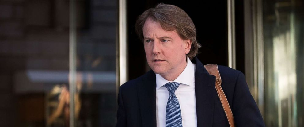 PHOTO: Don McGahn, lawyer for Donald Trump and his campaign, leaves the Four Seasons Hotel after a meeting with Trump and Republican donors, June 9, 2016. in New York City.