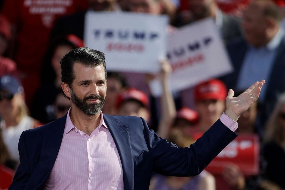 PHOTO: Donald Trump Jr., gestures at a rally for his father, President Donald Trump in Montoursville, Pa., May 20, 2019.