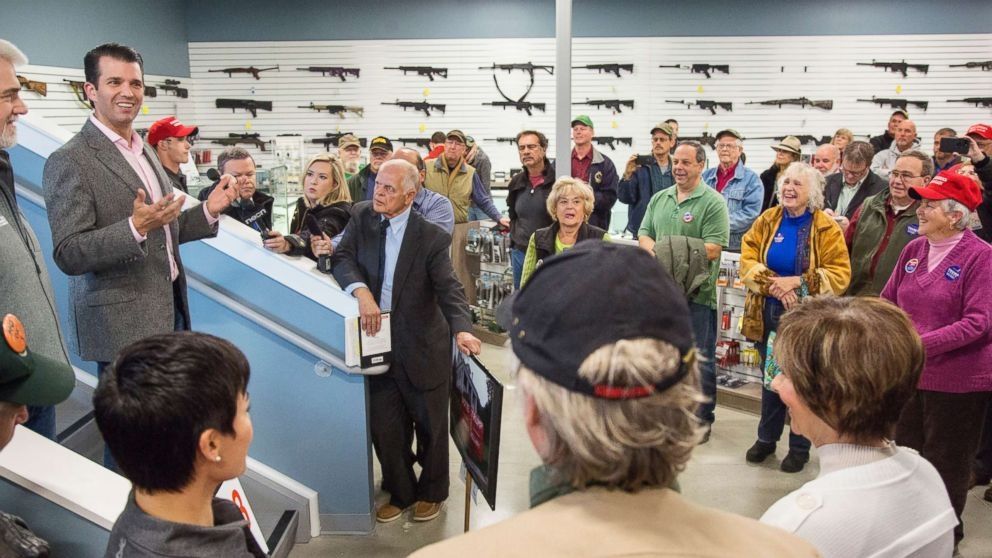 Donald Trump Jr. speaks to supporters of his father, presidential candidate Donald Trump, at Howell's Gun Shop in Gray, Oct. 25, 2016.