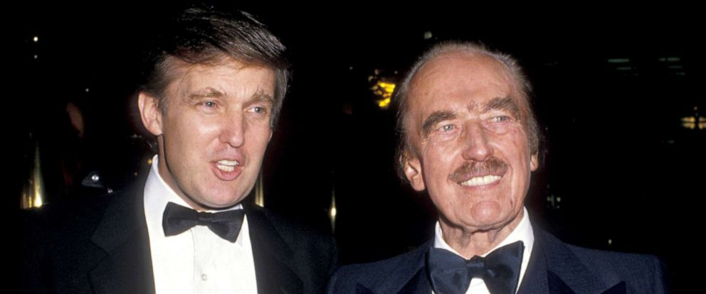 "PHOTO: Donald Trump, left, and father Fred Trump celebrate the launch of ""The Art of the Deal"" at Trump Towers in New York City."
