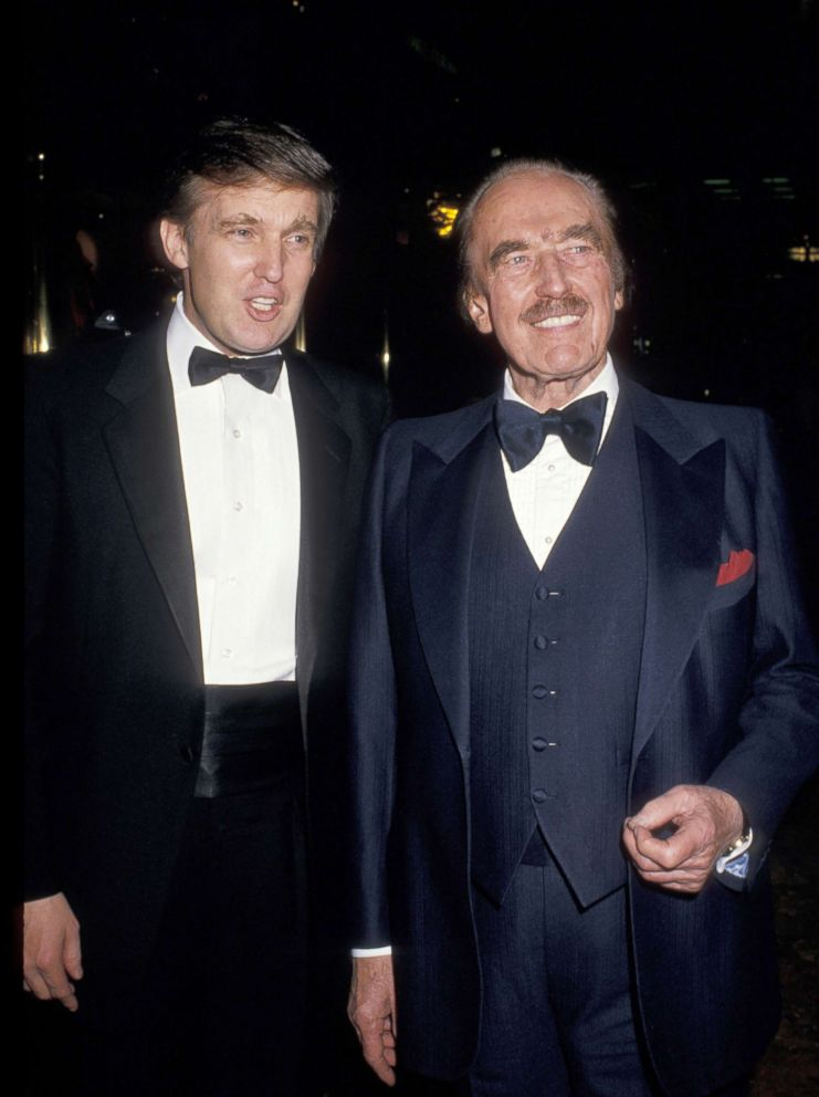 "Donald Trump and Fred Trump celebrate ""The Art of The Deal"" book launch at Trump Towers Atrium in New York City."