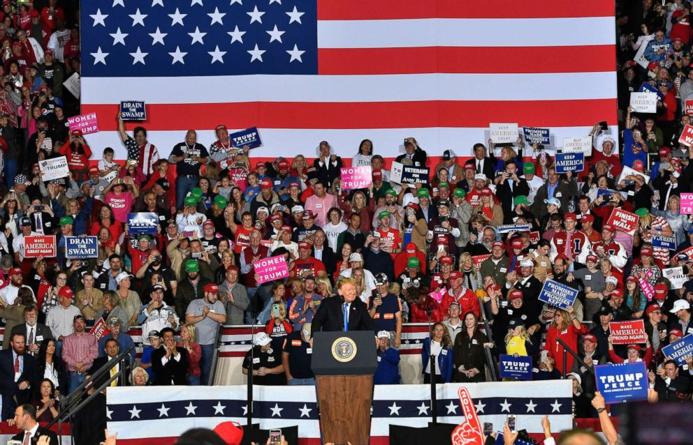 PHOTO: President Donald Trump speaks to a cheering crowd at Eastern Kentucky University, Oct. 13, 2018, in Richmond, Ky.