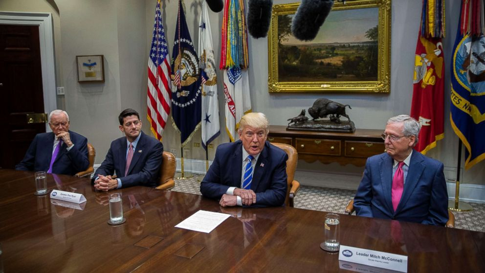 President Donald Trump (2-R), with Chairman of the Senate Finance Committee Orrin Hatch (L), Speaker of the House Paul Ryan (2-L) and Senate Majority Leader Mitch McConnell (R), delivers remarks during a meeting with members of Congress and his administration regarding tax reform in the Roosevelt Room of the White House, Sept. 5, 2017 in Washington, D.C.