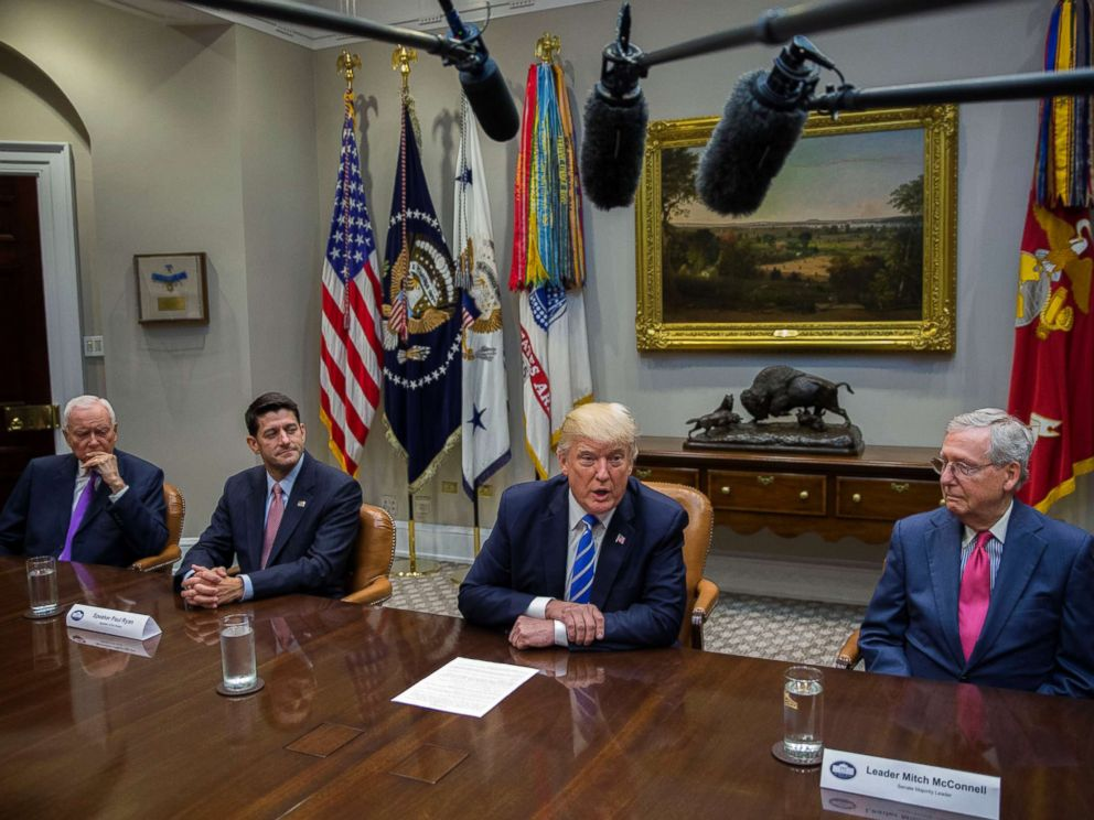 PHOTO: President Donald Trump (2-R), delivers remarks during a meeting with members of Congress and his administration regarding tax reform at the White House, Sept. 5, 2017 in Washington, D.C.