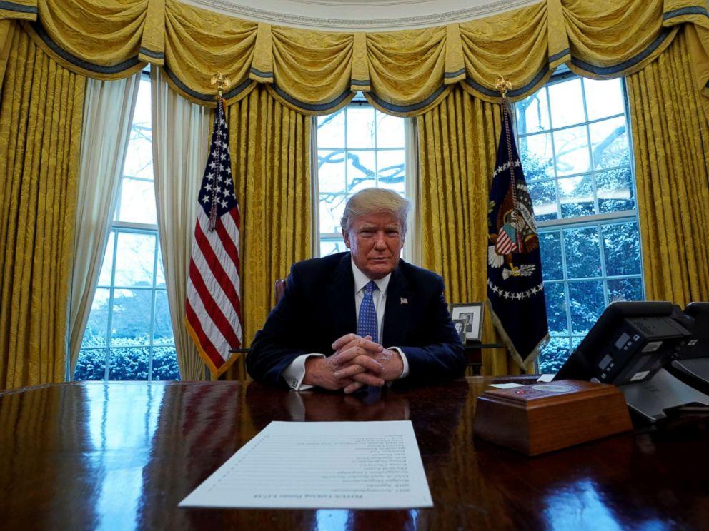 PHOTO: President Donald Trump sits at the Resolute desk during an interview with Reuters at the White House in Washington, D.C., Jan. 17, 2018.
