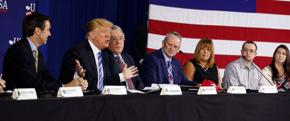 PHOTO: President Donald Trump speaks during a roundtable discussion on tax policy, April 5, 2018, in White Sulphur Springs, W.Va.