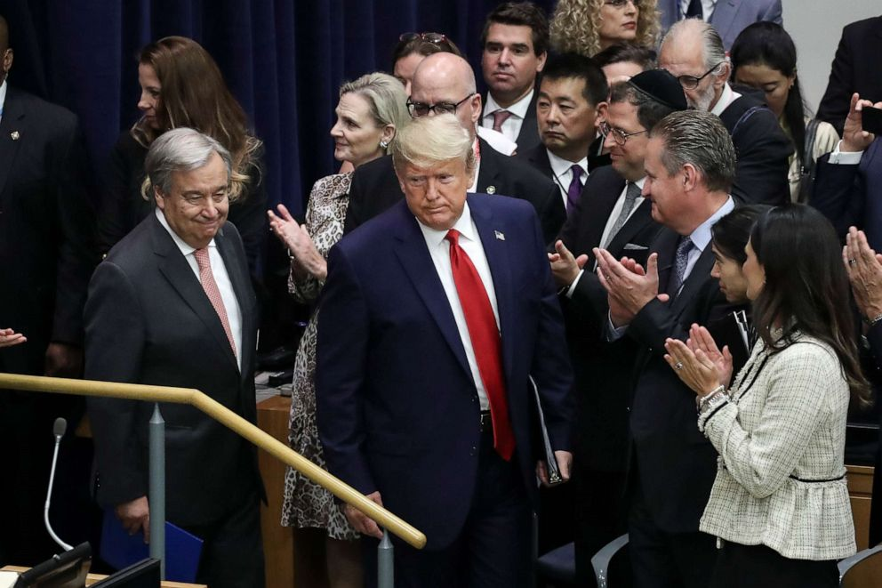 PHOTO: United Nations Secretary General Antonio Guterres and President Donald Trump arrive for a meeting on religious freedom at U.N. headquarters on Sept. 23, 2019, in New York.
