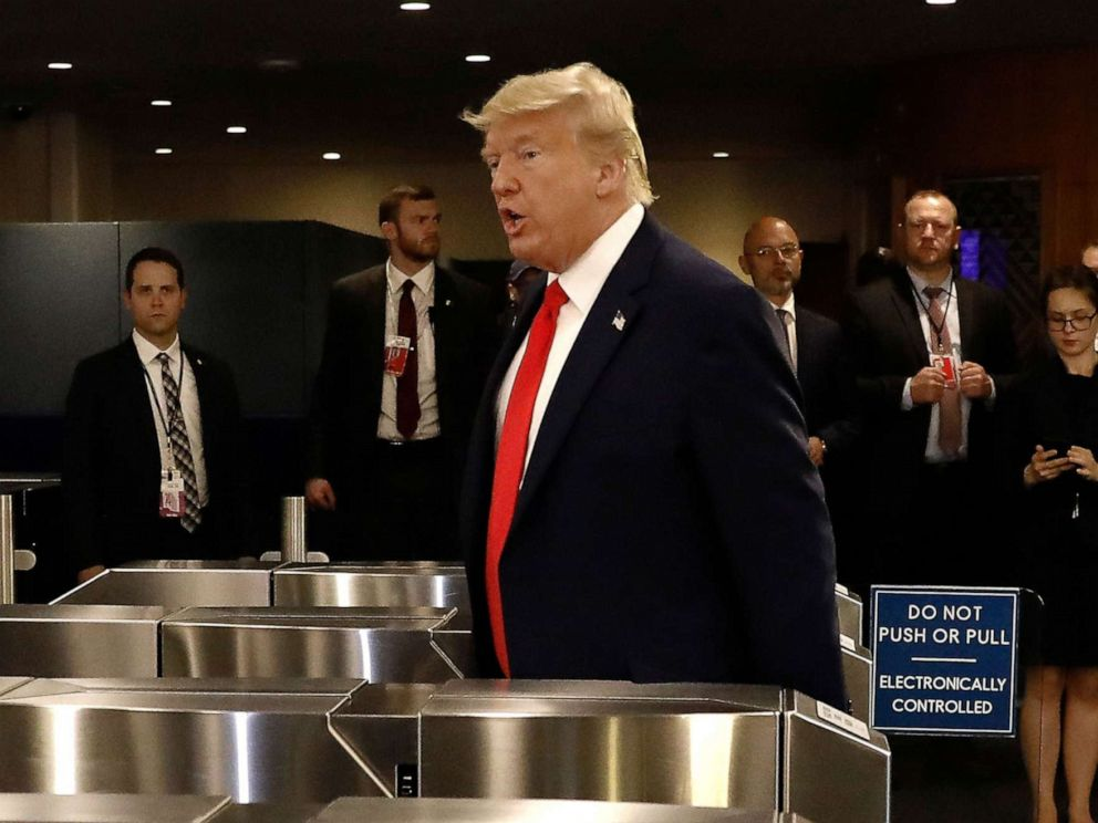 PHOTO: President Donald Trump departs after a meeting at the United Nations for a global call to protect religious freedom ahead of the General Debate of the General Assembly of the United Nations at U.N. Headquarters in New York, Sept. 23, 2019.