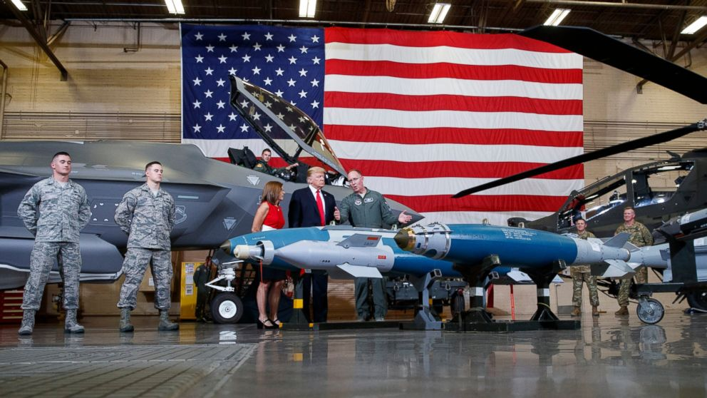 President Donald Trump participates in a Defense Capability Tour with Brigadier General Todd Canterbury, Commander, 56th Fighter Wing, Luke Air Force Base, Arizona. at Luke Air Force Base, Ariz., Friday, Oct. 19, 2018.