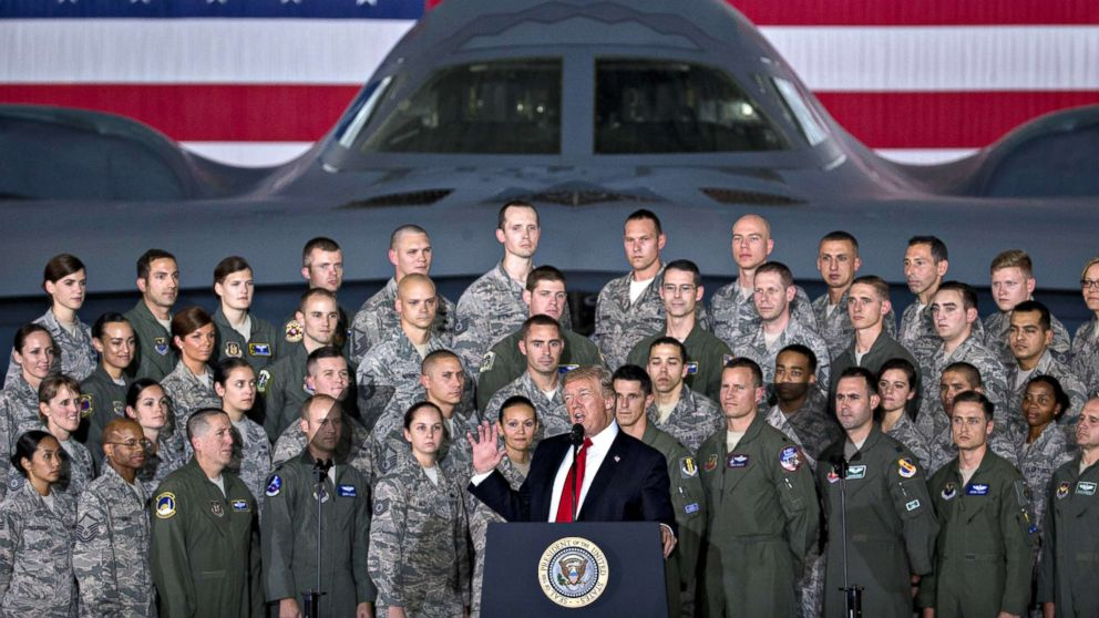 President Donald Trump delivers remarks to military personnel and families in an aircraft hangar at Joint Base Andrews, Maryland, Sept. 15, 2017.