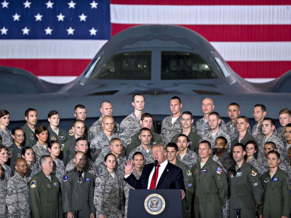 PHOTO: President Donald Trump delivers remarks to military personnel and families in an aircraft hangar at Joint Base Andrews, Maryland, Sept. 15, 2017.