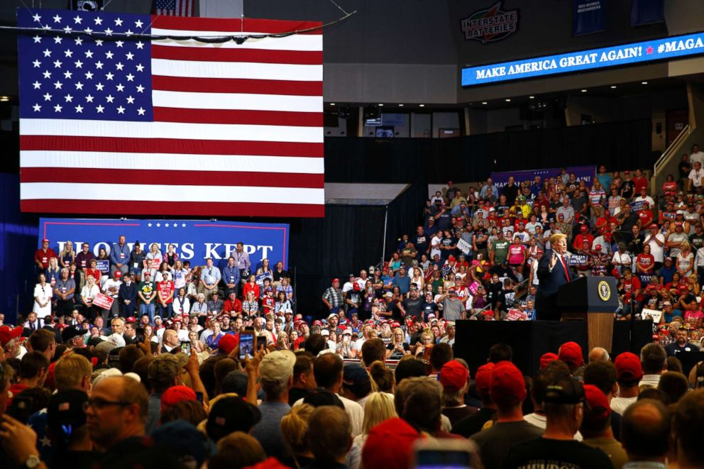President Donald Trump speaks during a campaign rally on June 27, 2018, in Fargo, N.D.
