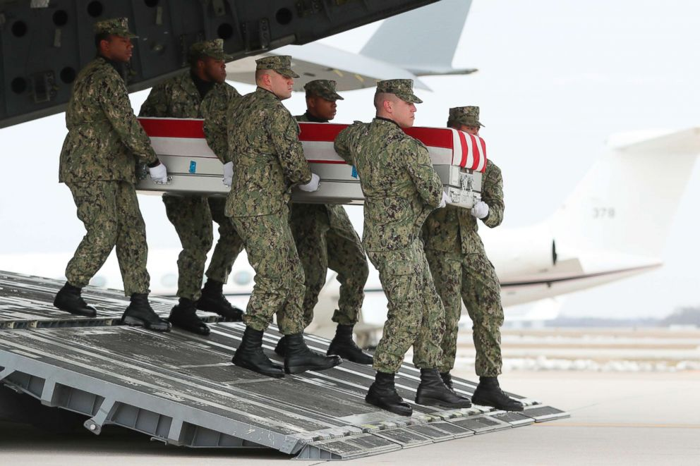 PHOTO: A U.S. Navy carry team moves a transfer case containing the remains of Scott A. Wirtz at Dover Air Force Base, Del., Jan. 19, 2019.