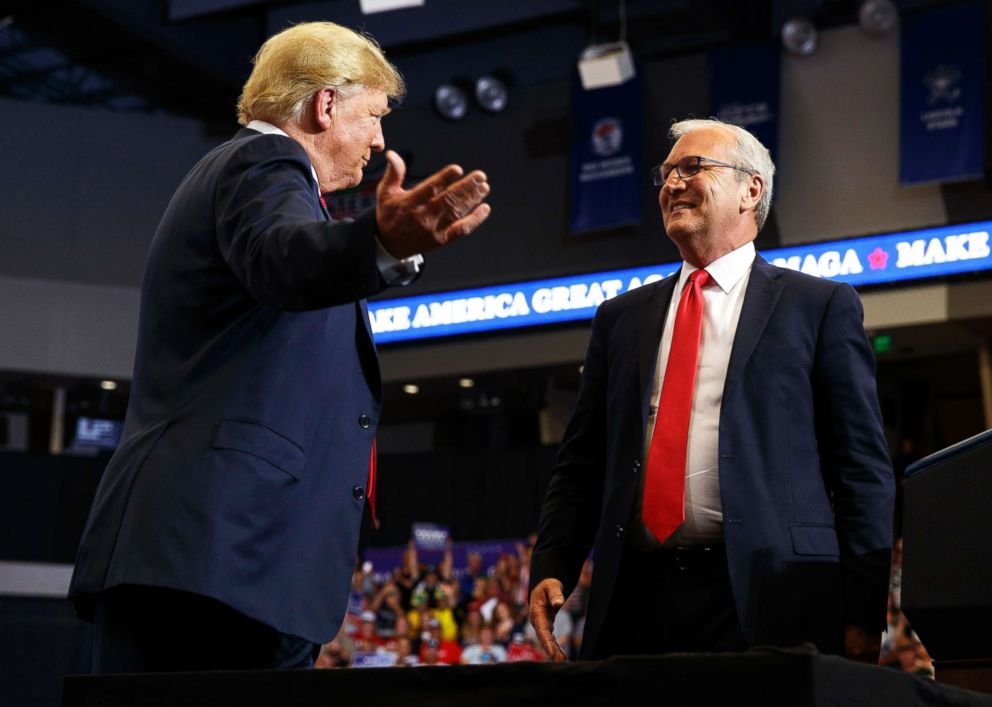 PHOTO: President Donald Trump hugs Senate candidate Rep. Kevin Cramer during a campaign rally on June 27, 2018, in Fargo, N.D.