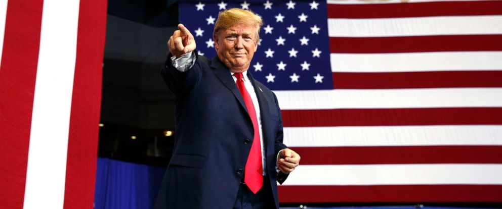 PHOTO: President Donald Trump arrives for a campaign rally on June 27, 2018, in Fargo, N.D.