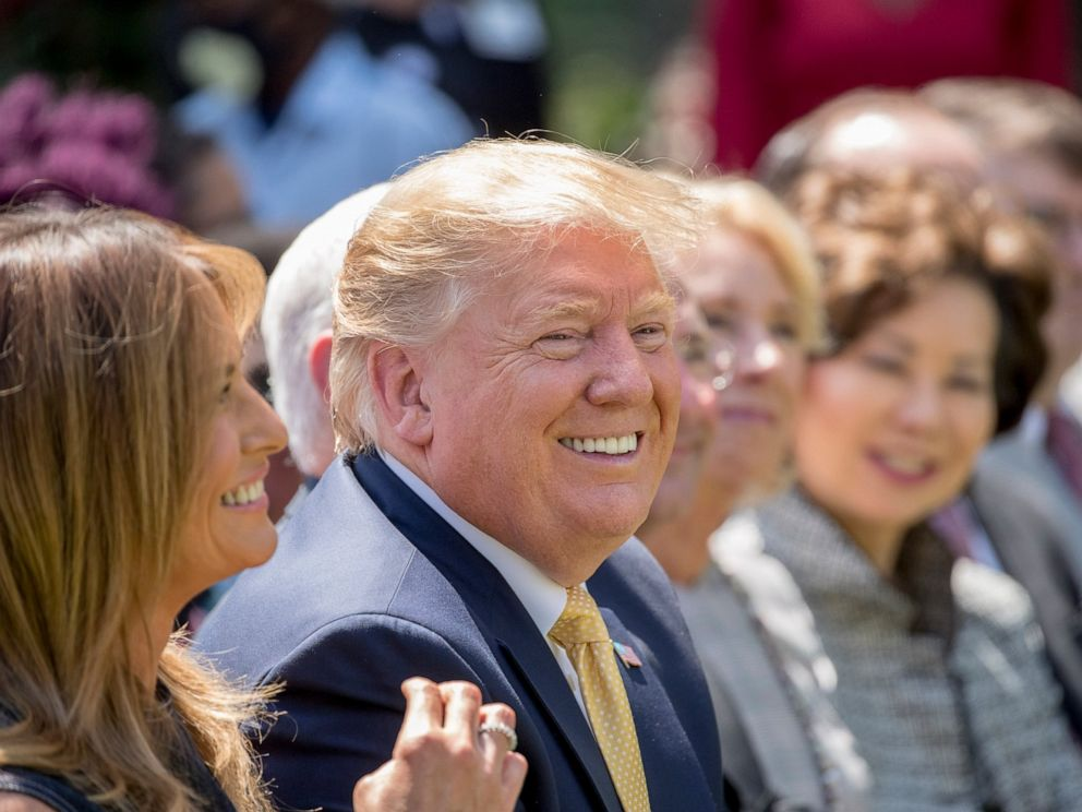 PHOTO: President Donald Trump and First lady Melania Trump, left, smile during a one year anniversary event for her Be Best initiative in the Rose Garden of the White House, Tuesday, May 7, 2019, in Washington.