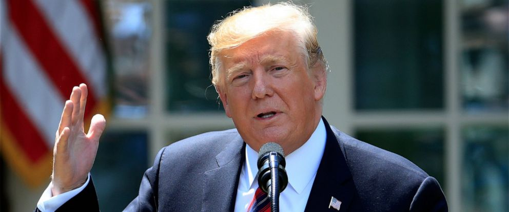 PHOTO: In this May 16, 2019, photo, President Donald Trump speaks in the Rose Garden of the White House in Washington.