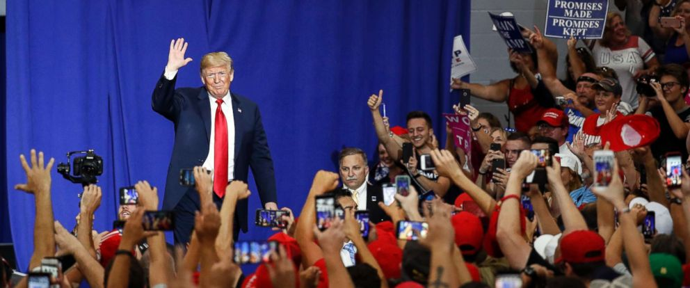PHOTO: President Donald Trump greets the crowd during a rally, Aug. 4, 2018, in Lewis Center, Ohio.