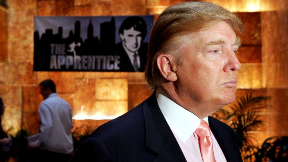 """Donald Trump is pictured at a publicity event where he interviewed candidates for season five of NBC's """"The Apprentice,"""" July 8, 2005."""