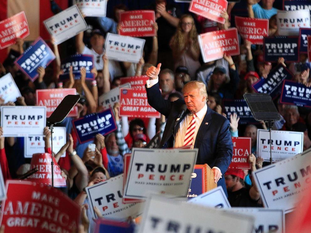 PHOTO: Republican presidential candidate Donald Trump speaks at a rally on Oct. 18, 2016, in Grand Junction, Colo.