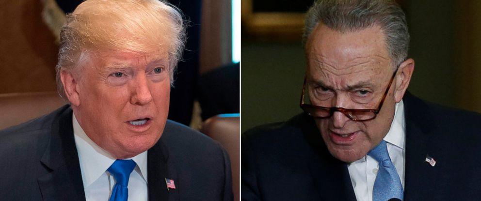 PHOTO: Pictured (L-R) are President Donald Trump, Dec. 20, 2017 and Senate Minority Leader Chuck Schumer, Jan. 4, 2018, in Washington, D.C.