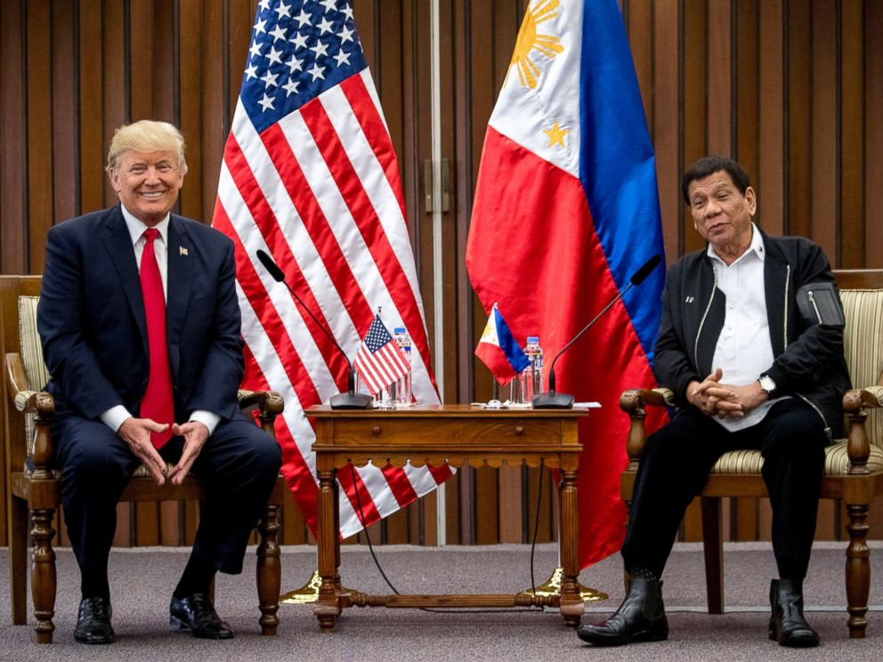 PHOTO: Philippines President Rodrigo Duterte, and President Donald Trump, speak during a bilateral meeting at the ASEAN Summit at the Philippine International Convention Center, Nov. 13, 2017, in Manila, Philippines.