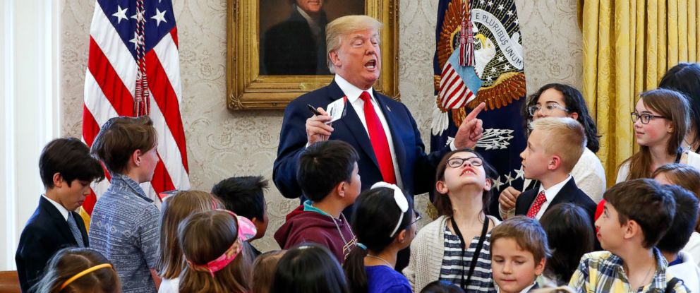 PHOTO: President Donald Trump meets with children in the Oval Office on Take Our Daughters And Sons To Work day at the White House, April 26, 2018.