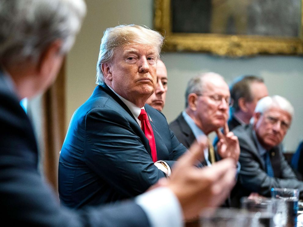 PHOTO: President Trump discusses immigration bill with members of Congress at the White House on June 20, 2018. <p itemprop=