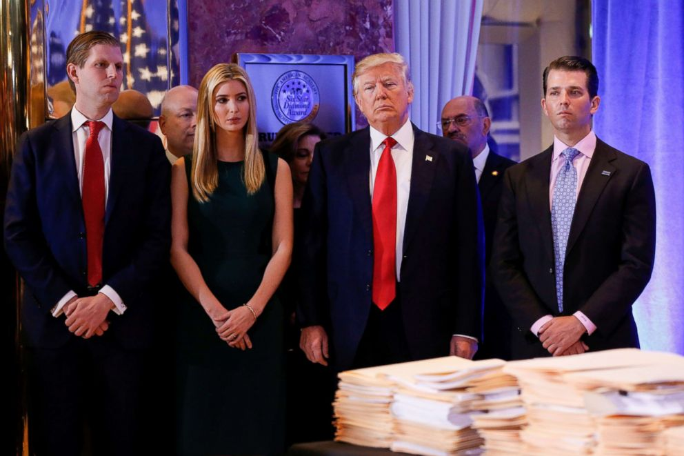 PHOTO: President-elect Donald Trump stands surrounded by his son Eric Trump, daughter Ivanka and son Donald Trump Jr., ahead of a press conference in Trump Tower in New York in this Jan. 11, 2017 file photo.